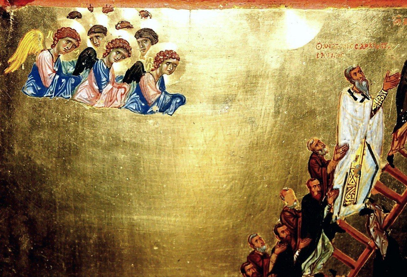 Лествица Святого Преподобного Иоанна Лествичника. Византийская икона второй половины XII века. Монастырь Святой Екатерины на Синае. Фрагмент.