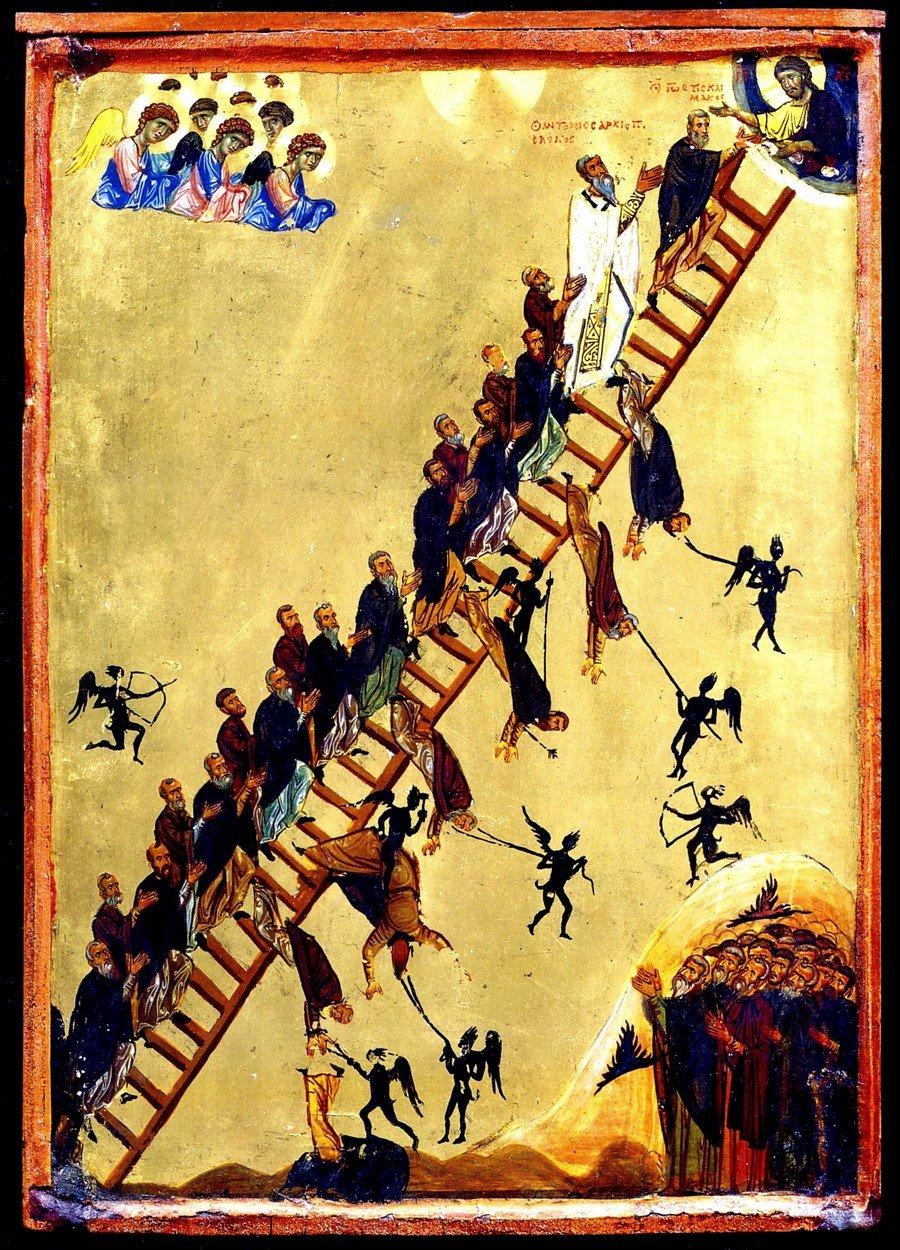 Лествица Святого Преподобного Иоанна Лествичника. Византийская икона второй половины XII века. Монастырь Святой Екатерины на Синае.
