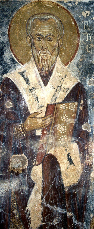 Священномученик Ипатий, Епископ Гангрский. Фреска церкви Святого Георгия в Вафи, Греция. 1284 год.