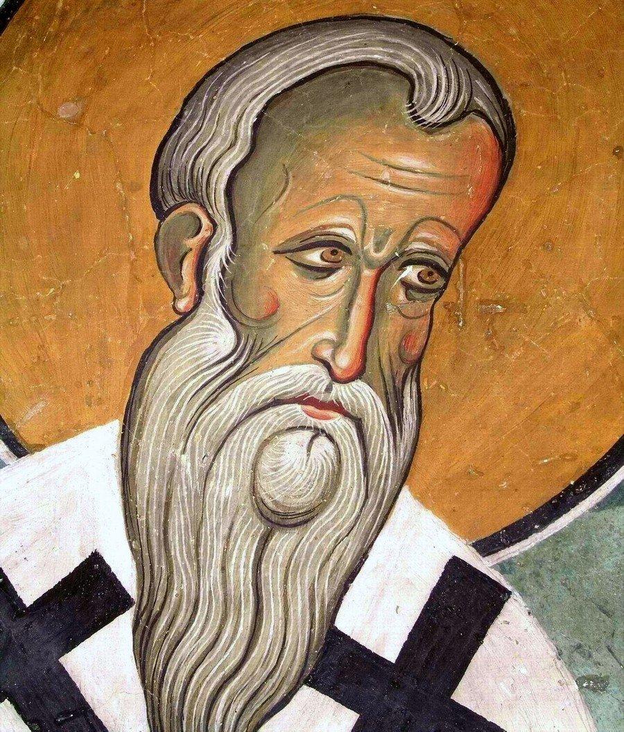 Священномученик Ипатий, Епископ Гангрский. Фреска церкви Панагии Аракиотиссы в деревне Лагудера на Кипре. 1192 год.