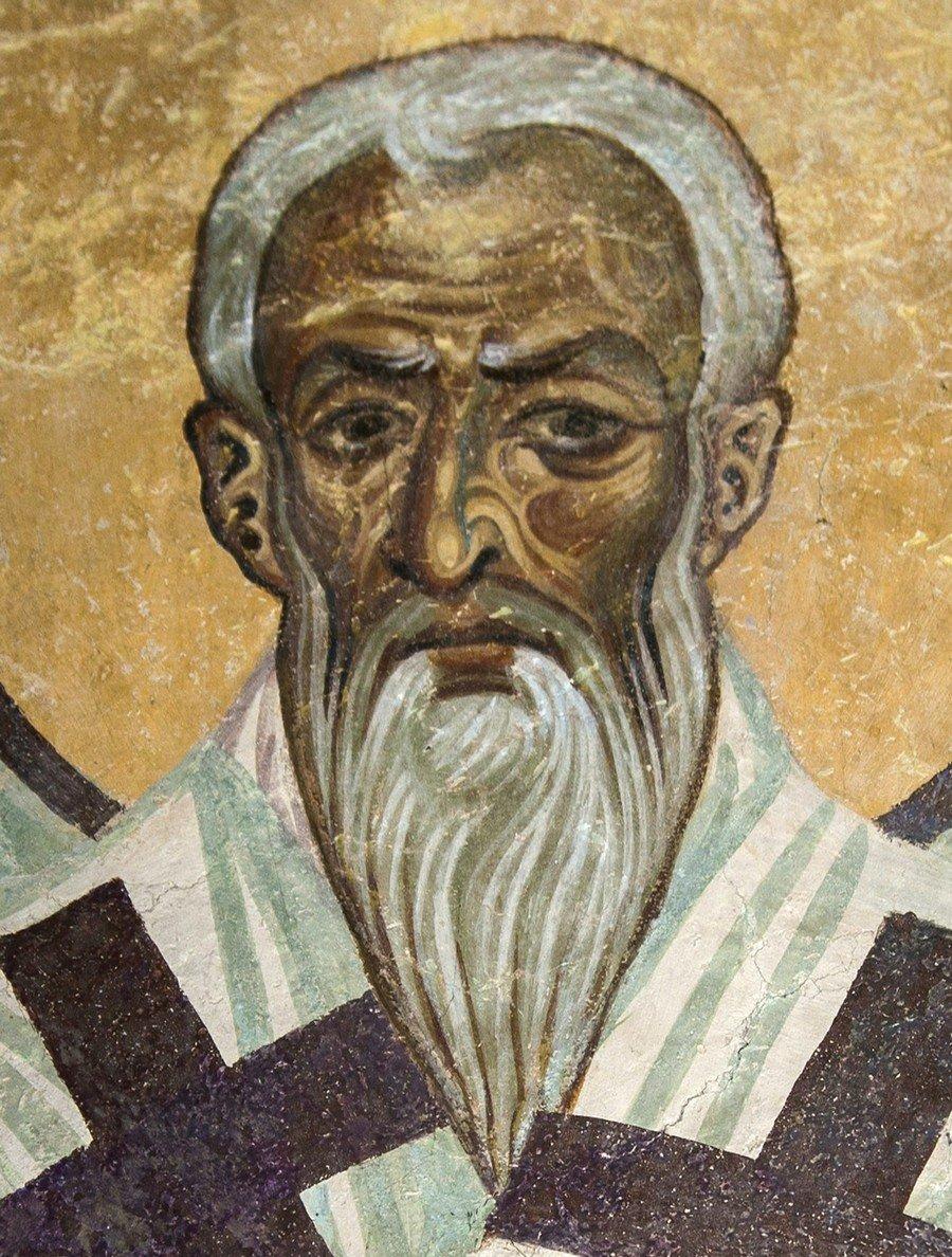 Священномученик Ипатий, Епископ Гангрский. Фреска церкви Святого Пантелеимона в Нерези близ Скопье, Македония. 1164 год.