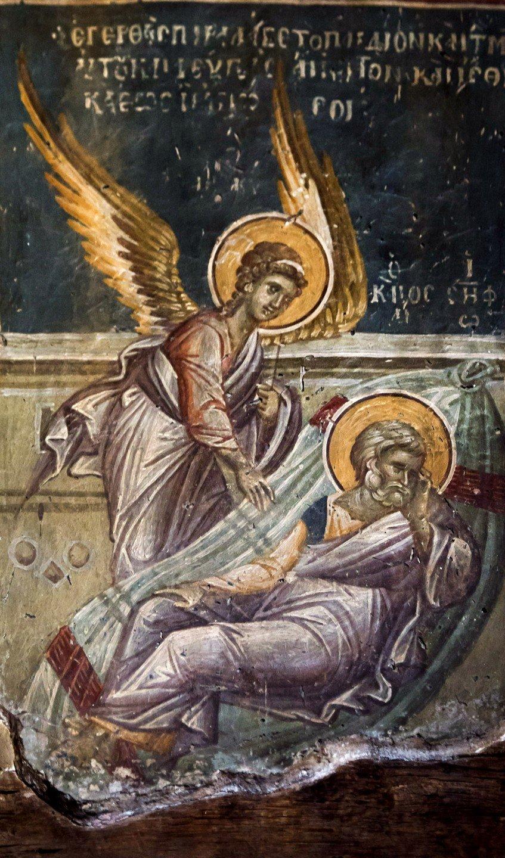 Фрагмент фрескового цикла, иллюстрирующего Акафист ко Пресвятой Богородице. Церковь Святого Николая Орфаноса в Салониках, Греция. 1310 - 1315 годы.