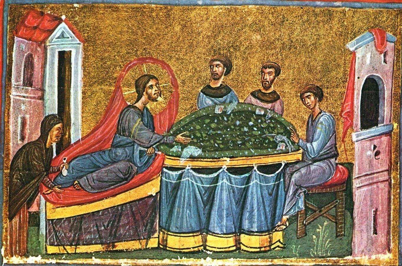 Христос в доме Симона прокаженного. Византийская миниатюра.