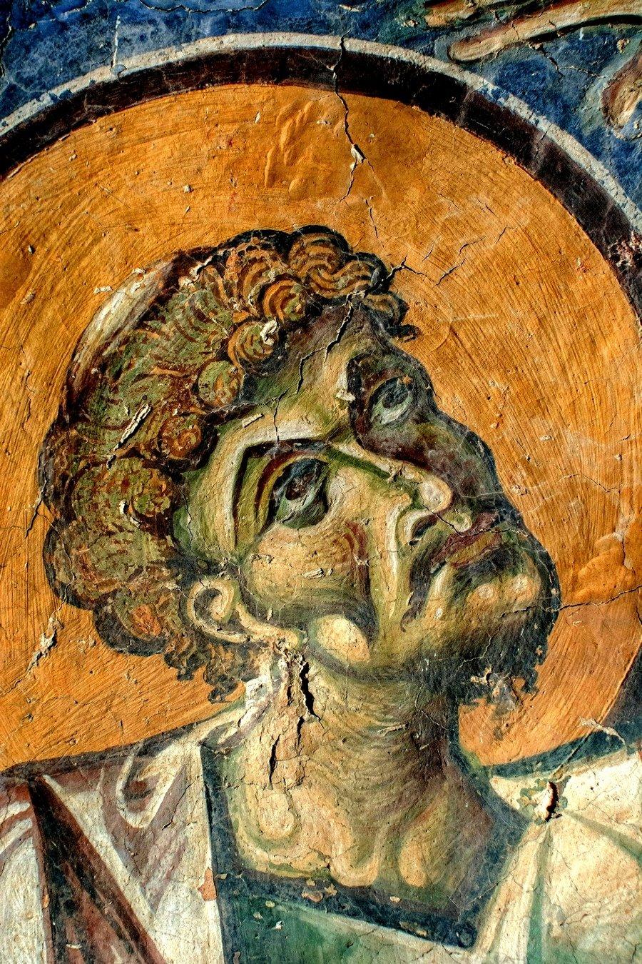 Святой Апостол и Евангелист Лука. Фреска церкви Святого Георгия в Курбиново, Македония. 1191 год.