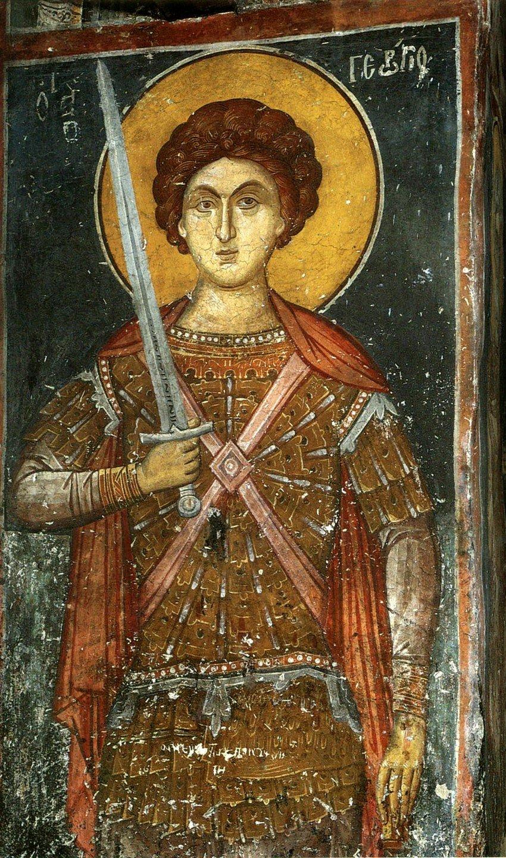 Святой Великомученик Георгий Победоносец. Фреска монастыря Панагии Олимпиотиссы в Элассоне, Греция. XIV век.