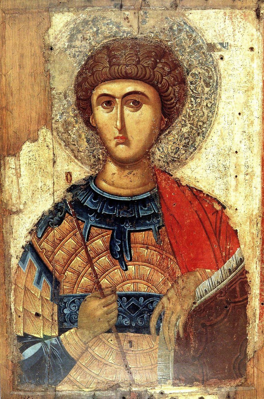 Святой Великомученик Георгий Победоносец. Византийская икона. Церковь Панагии Трипити в Эгио, Греция.