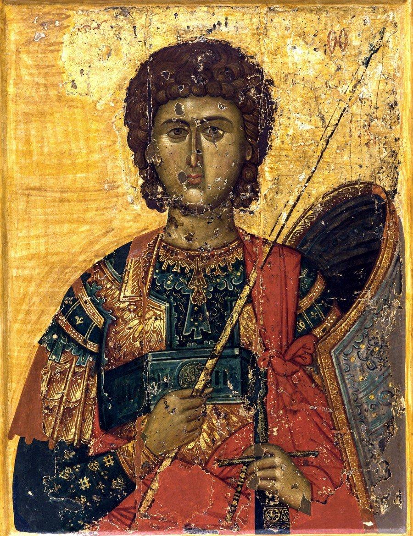 Святой Великомученик Георгий Победоносец. Византийская икона XIV века. Церковный Византийский музей в Митилини, Греция.