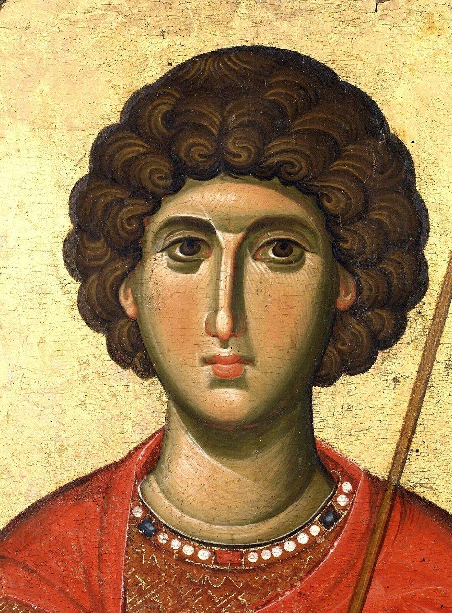 Святой Великомученик Георгий Победоносец. Икона. Византия, около 1300 года. Монастырь Ватопед на Афоне. Иконописец Мануил Панселин (?). Лик.