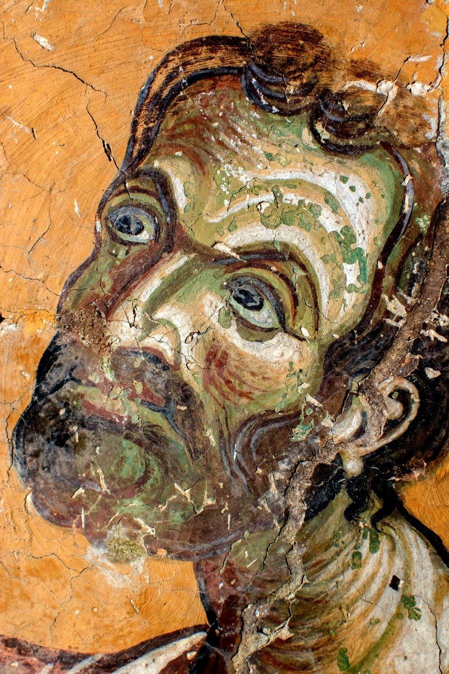 Святой Апостол и Евангелист Марк. Фреска церкви Святого Георгия в Курбиново, Македония. 1191 год.