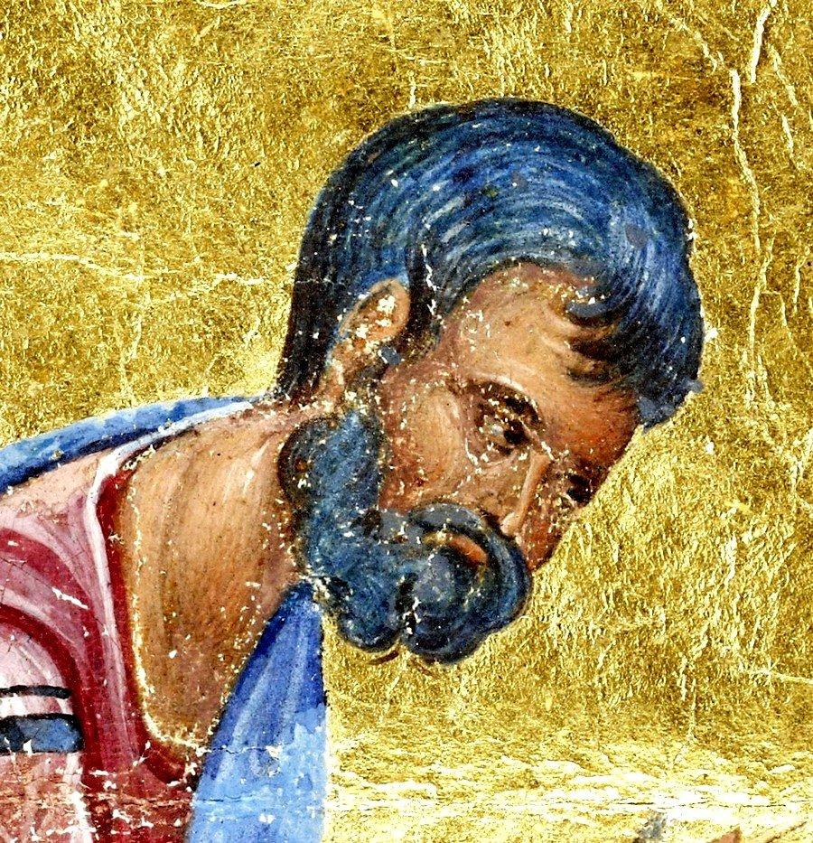 Святой Апостол и Евангелист Марк. Византийская миниатюра. 1325 - 1345 годы. Фрагмент.