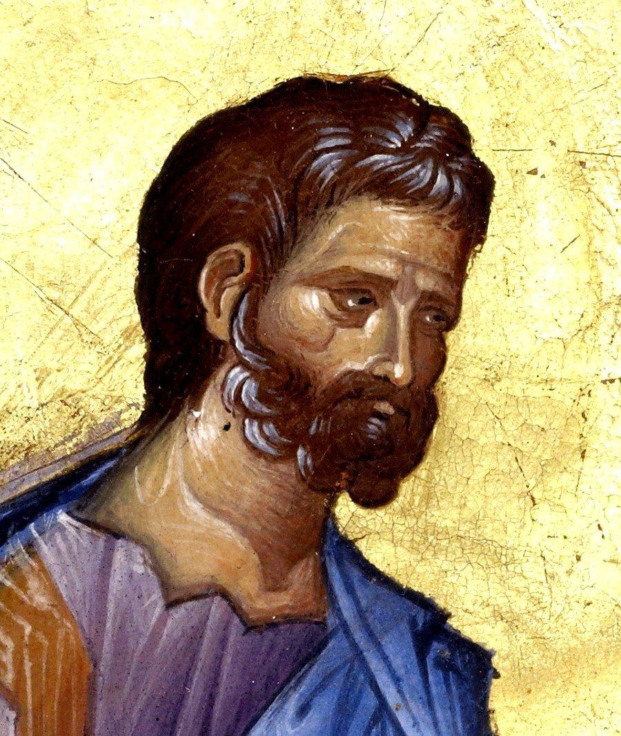 Святой Апостол и Евангелист Марк. Византийская миниатюра XIII века. Фрагмент.