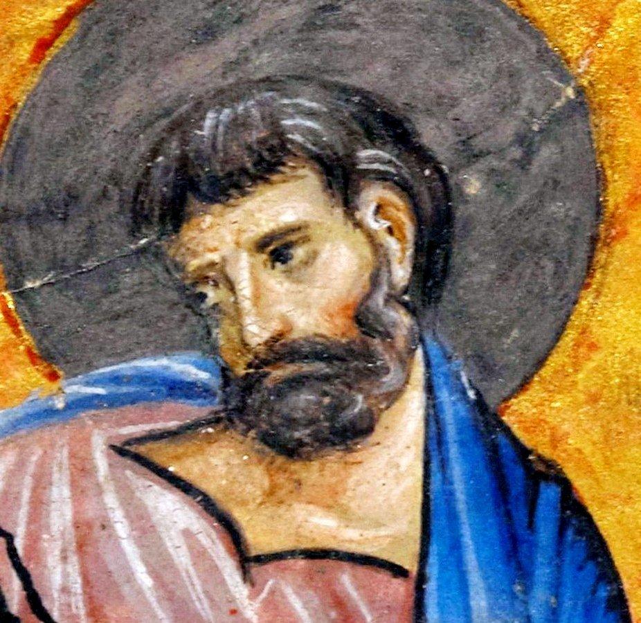 Святой Апостол и Евангелист Марк. Византийская миниатюра XIV века. Фрагмент.