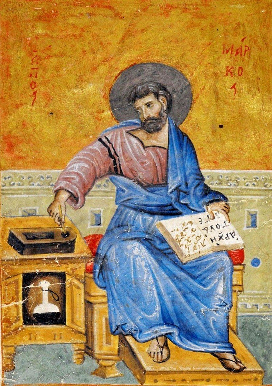 Святой Апостол и Евангелист Марк. Византийская миниатюра XIV века.