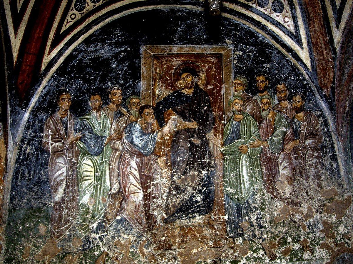 Уверение Апостола Фомы. Фреска монастыря Осиос Лукас, Греция. 1030 - 1040-е годы.