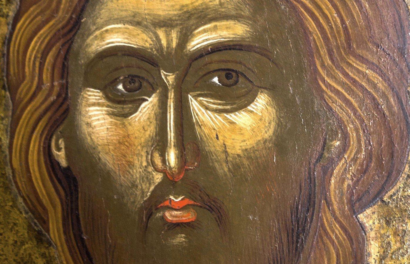 Христос Пантократор. Икона. Византия, вторая половина XIV века. Византийский музей в Кастории, Греция. Фрагмент.