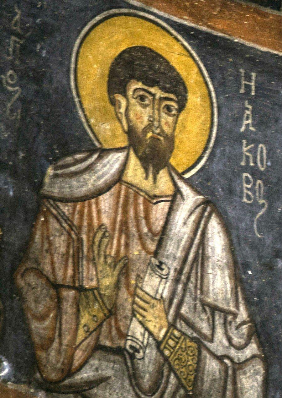 Святой Апостол Иаков Зеведеев. Византийская фреска в монастыре Эски Гюмюшлер, Каппадокия.