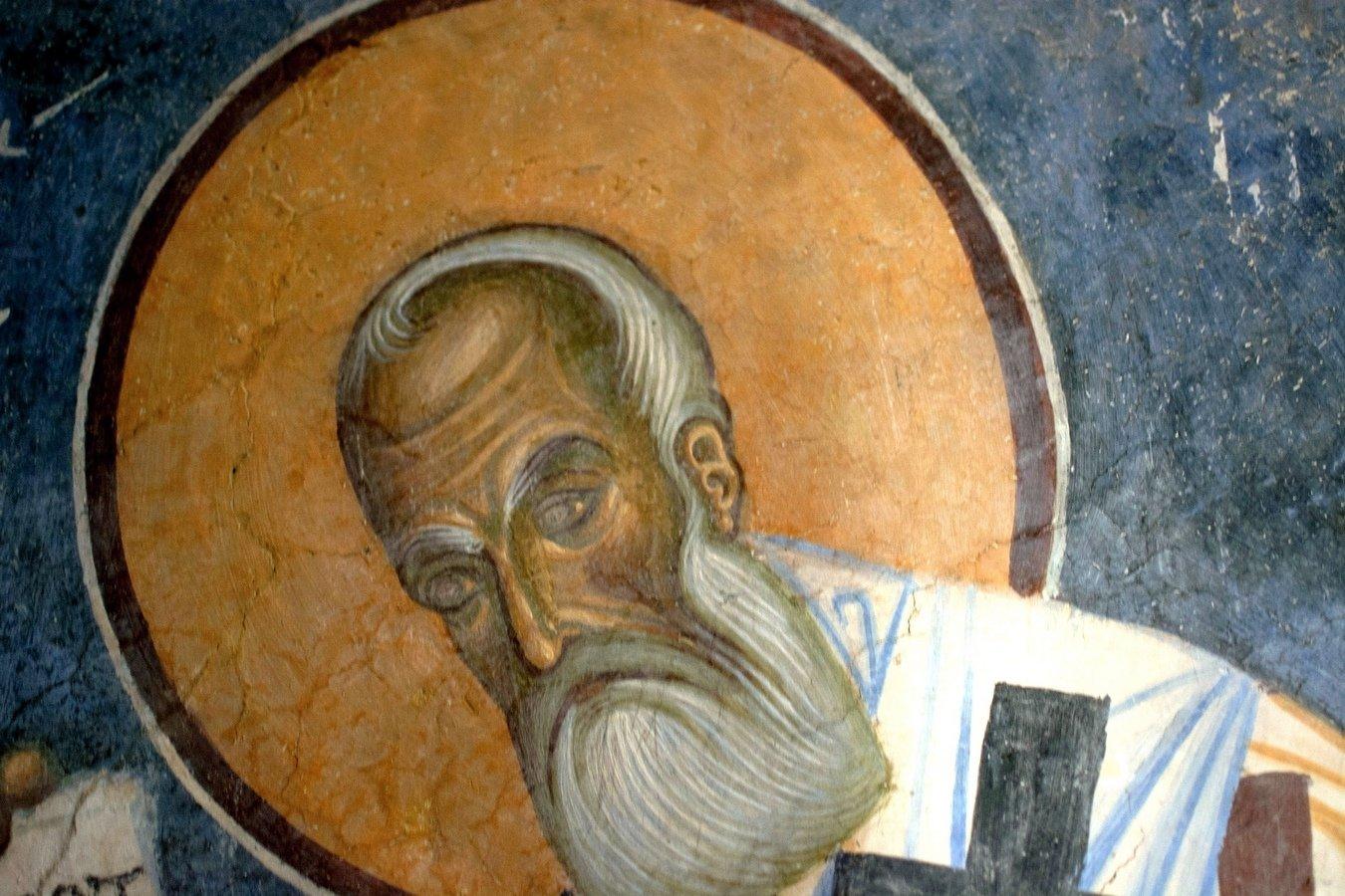 Святитель Афанасий Великий, Архиепископ Александрийский. Фреска монастыря Святого Пантелеимона в Нерези близ Скопье, Македония. 1164 год.