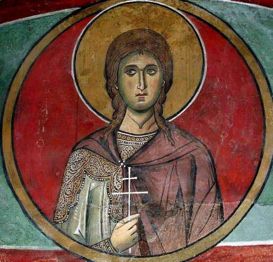 Святой Мученик Христофор Ликийский. Фреска церкви Панагии Аракиотиссы в деревне Лагудера на Кипре. 1192 год.