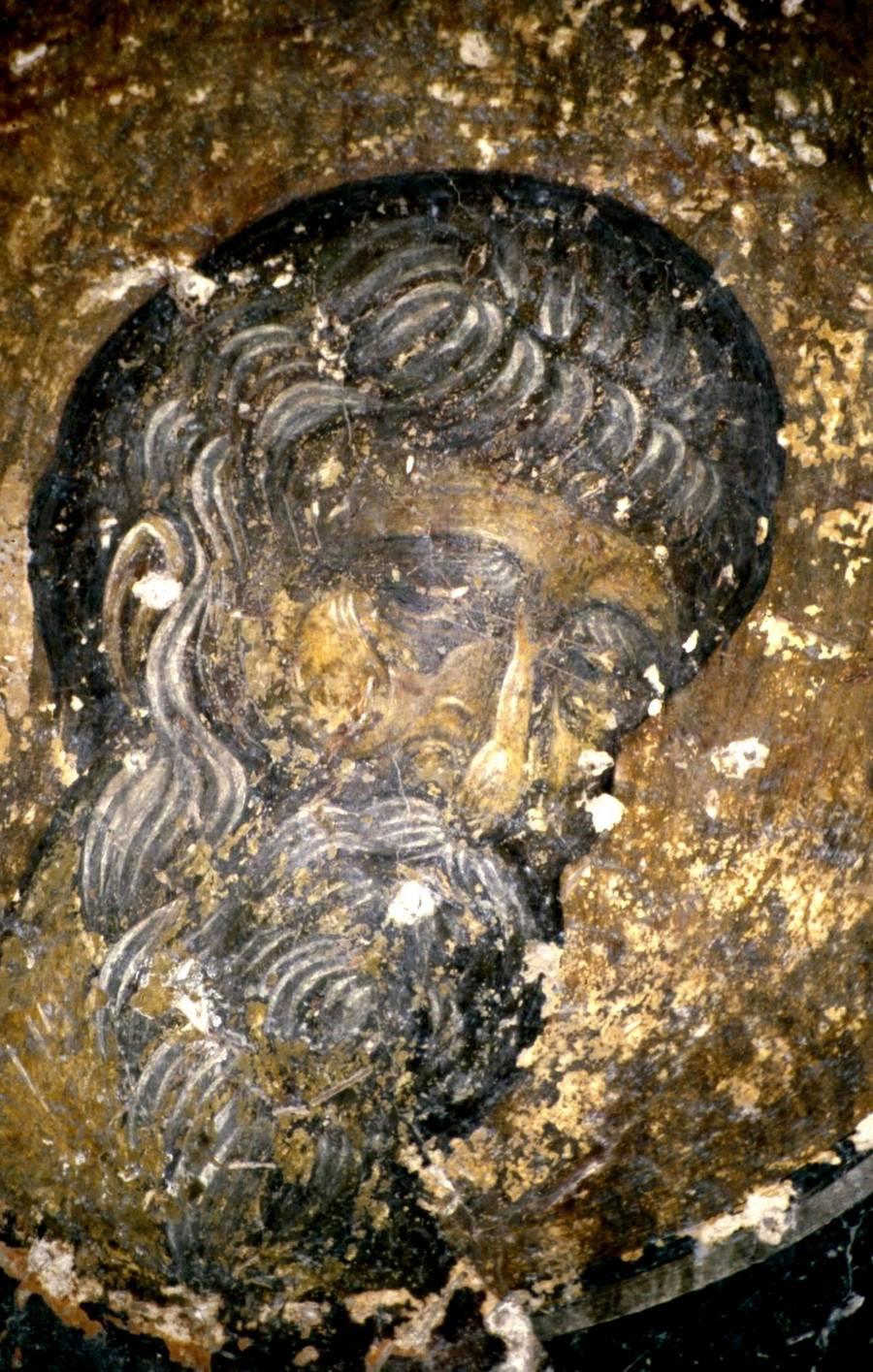 Явление Ангела Господня в схиме Святому Преподобному Пахомию Великому. Фреска церкви Святого Георгия Грамматику в Верии, Греция. Около 1380 года. Фрагмент.