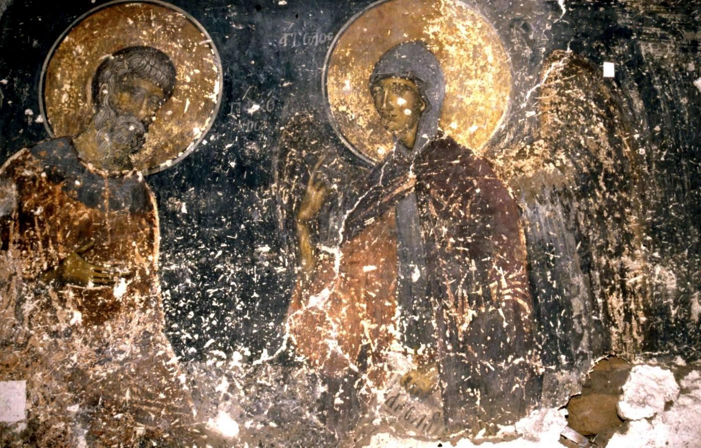Явление Ангела Господня в схиме Святому Преподобному Пахомию Великому. Фреска церкви Святого Георгия Грамматику в Верии, Греция. Около 1380 года.