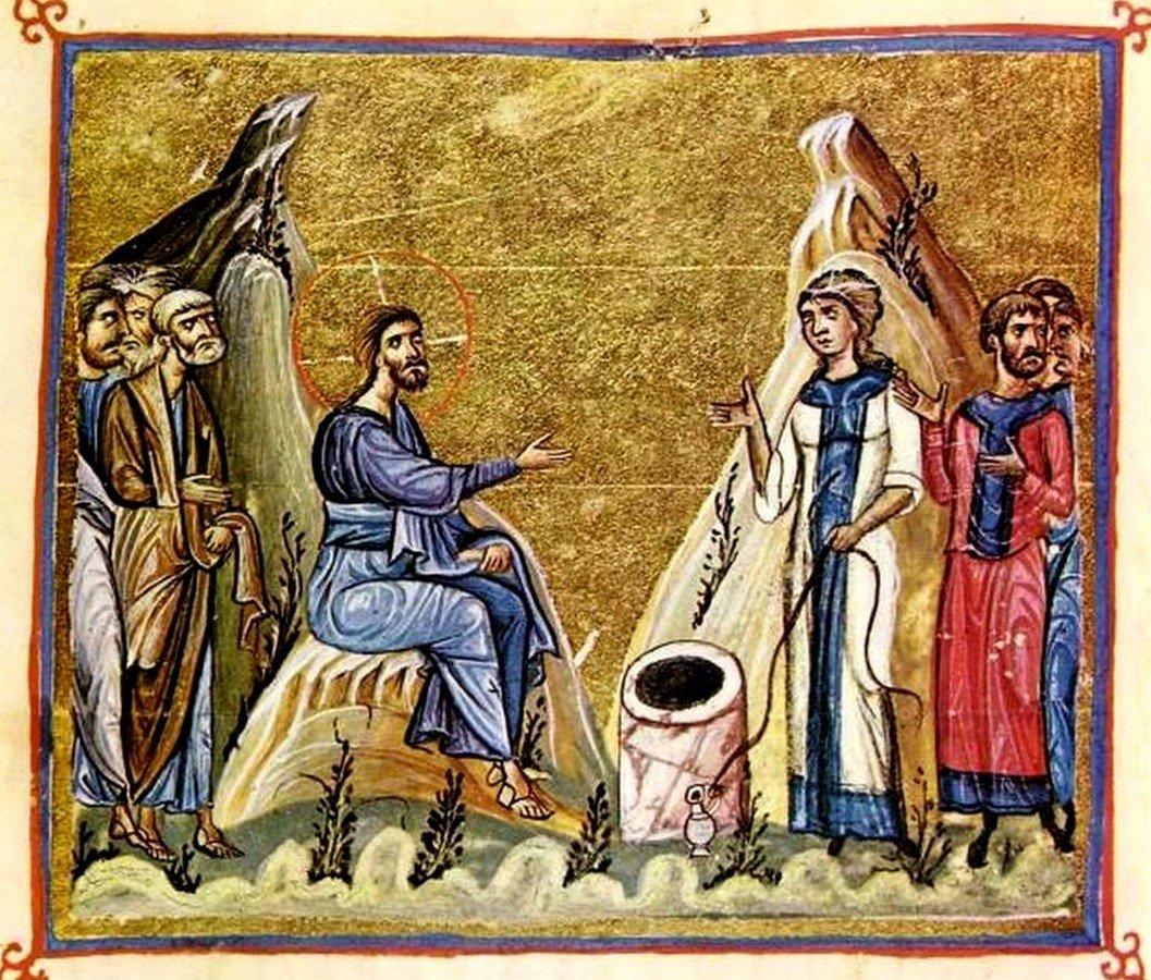 Беседа Христа с самарянкой. Византийская миниатюра.
