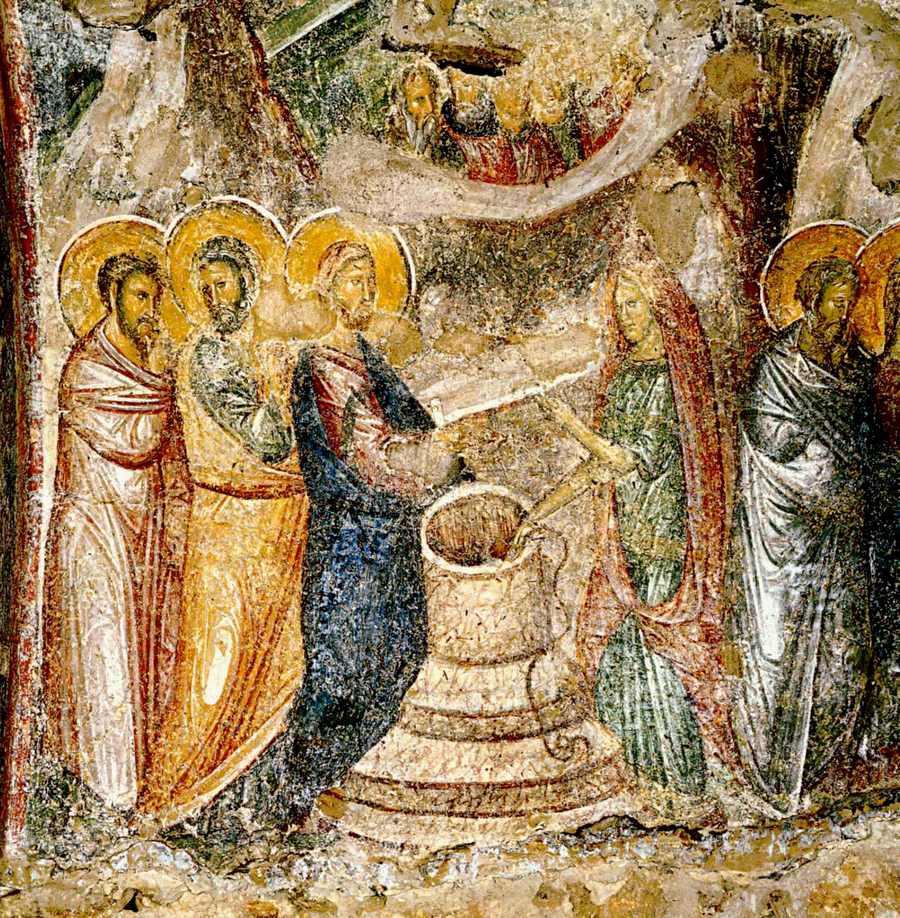 Беседа Христа с самарянкой. Фреска церкви Богоматери Одигитрии монастыря Вронтохион в Мистре, Греция. XIV век.