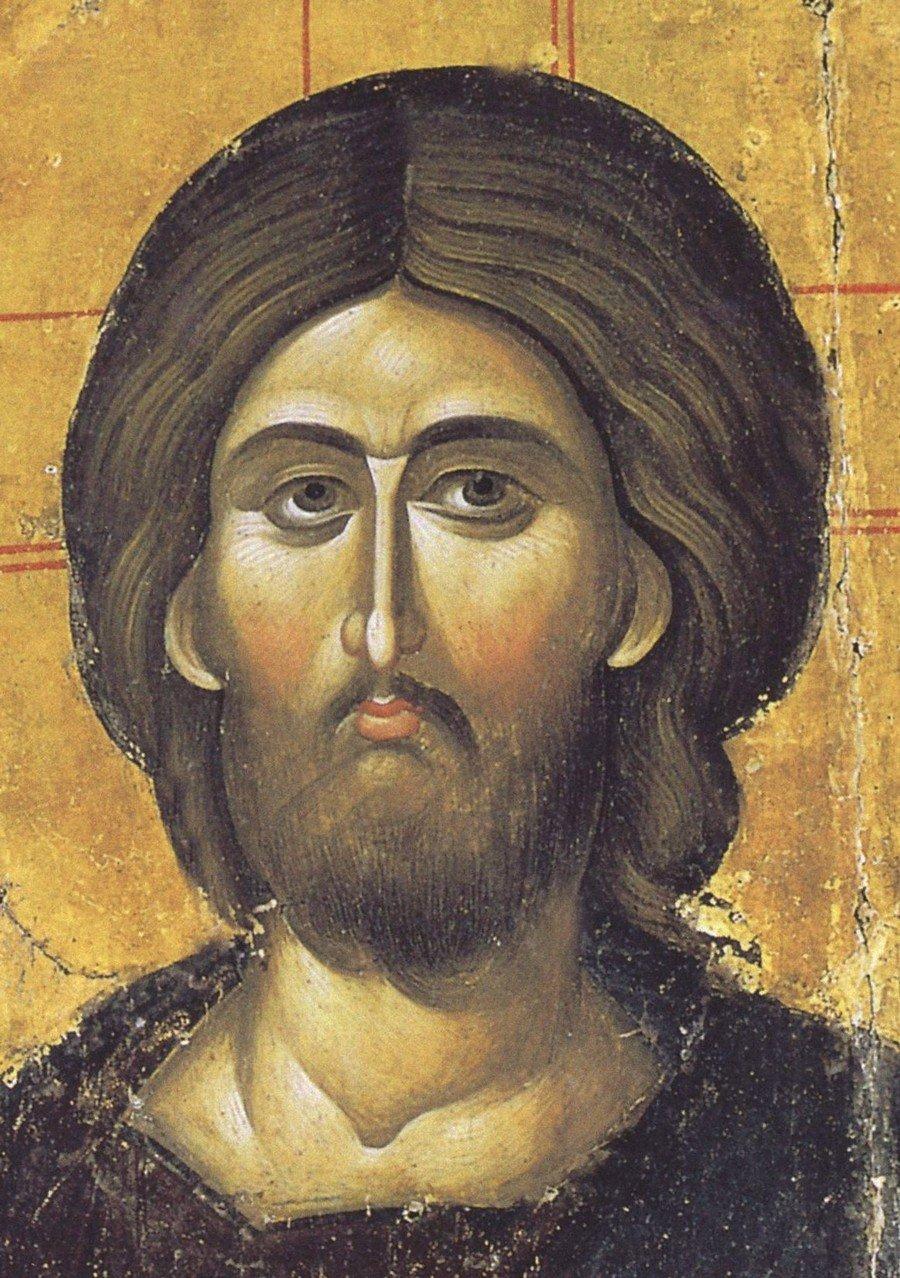 Христос Пантократор. Византийская икона XIV века. Монастырь Святой Екатерины на Синае. Фрагмент.