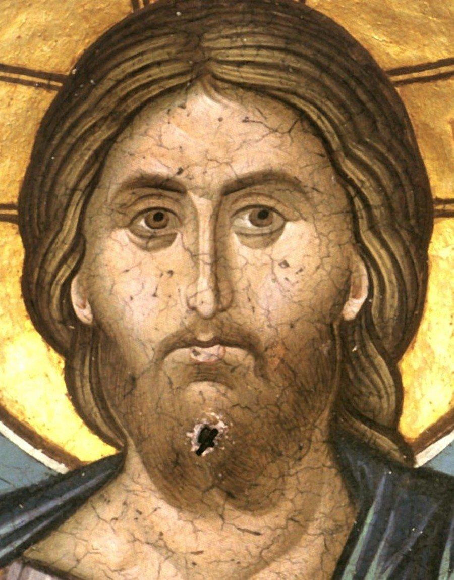 Христос Пантократор. Фреска монастыря Ватопед на Афоне. XIV век.
