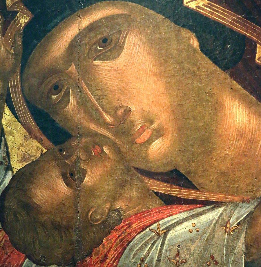 """Икона Божией Матери """"Кардиотисса"""". Византия, вторая четверть XV века. Иконописец Ангелос Акотантос. Византийский музей в Афинах. Фрагмент."""