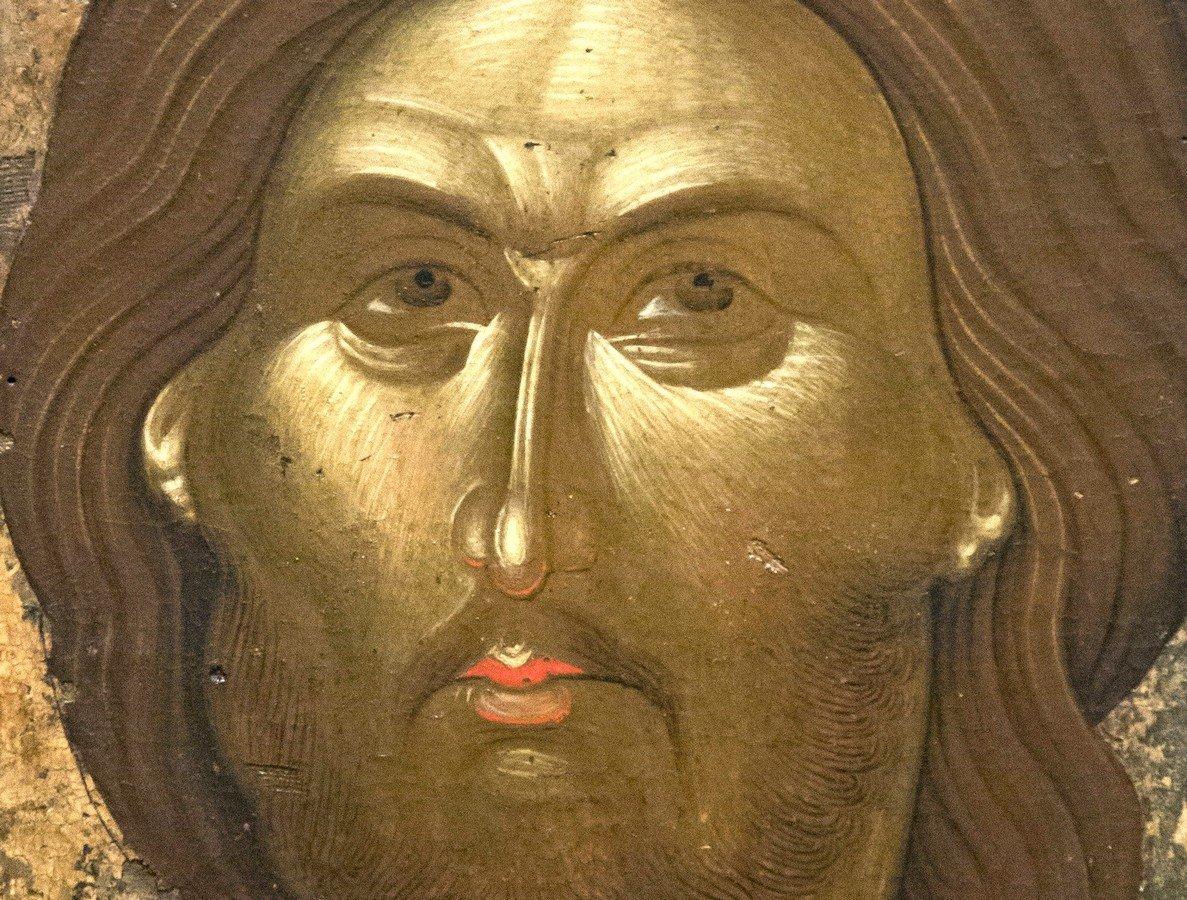 Христос Пантократор. Византийская икона. Византийский музей в Афинах. Фрагмент.