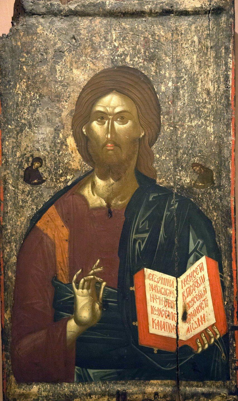 Христос Пантократор. Византийская икона. Византийский музей в Афинах.