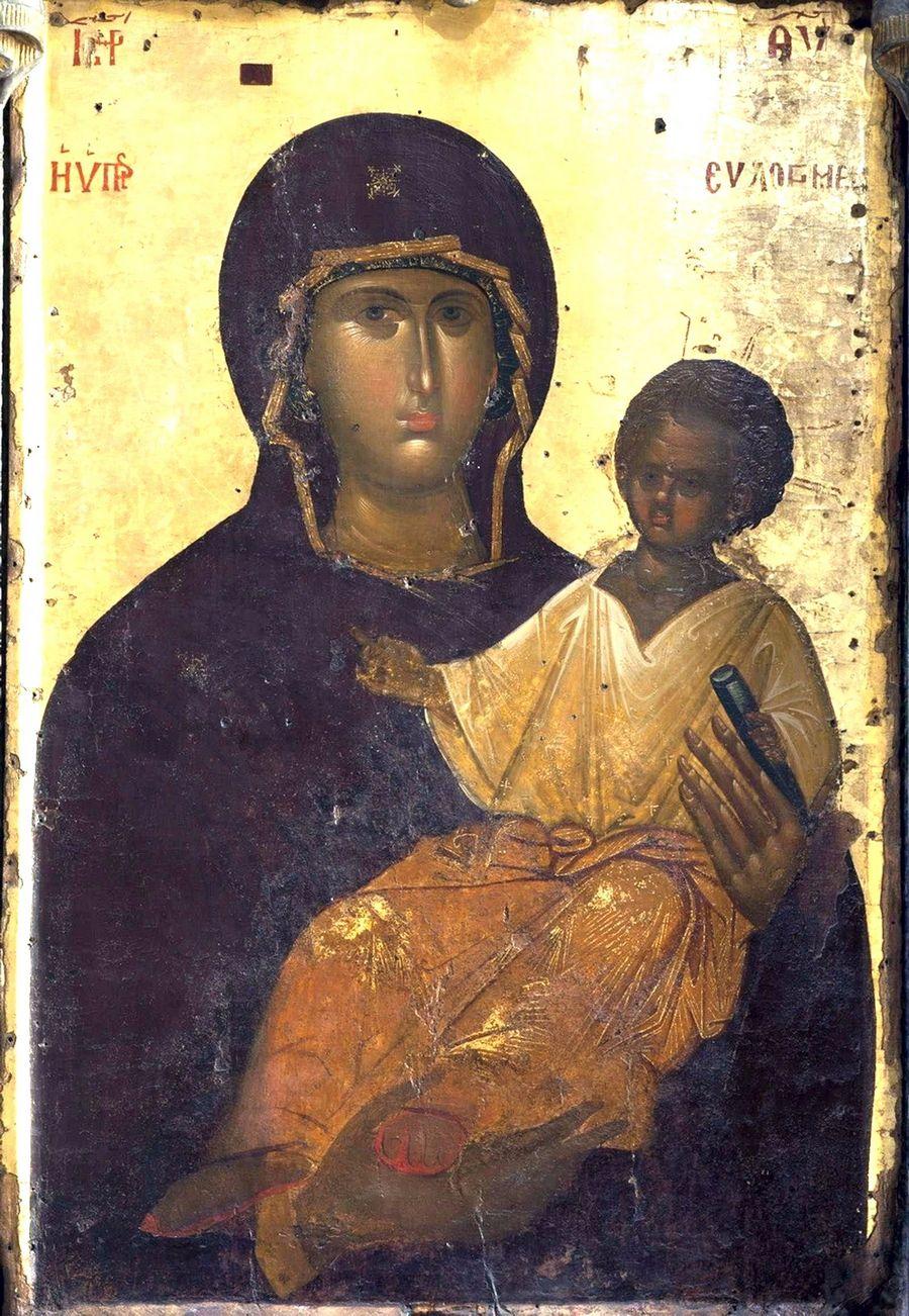 """Чудотворная икона Божией Матери """"Мировлитисса"""" (""""Мироточивая""""). Монастырь Святого Павла на Афоне."""