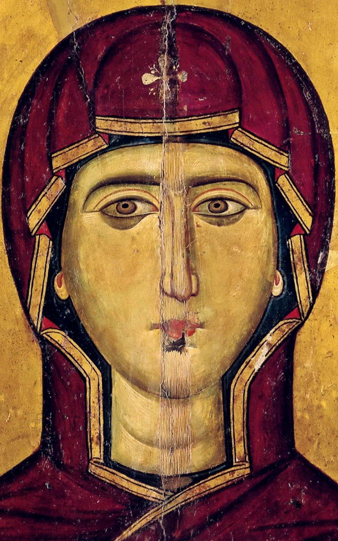 """Икона Божией Матери """"Влахернитисса"""". Византия, XIII век. Монастырь Святой Екатерины на Синае. Фрагмент."""