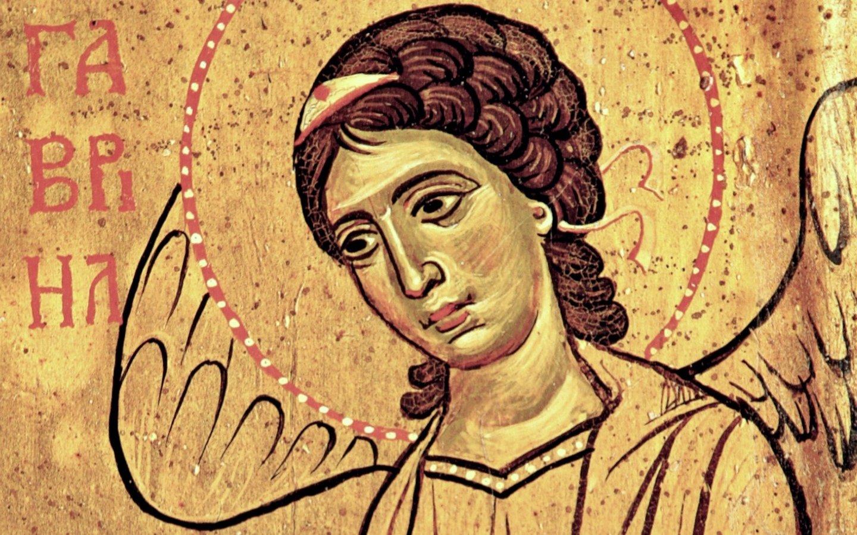 """Икона Божией Матери """"Влахернитисса"""". Византия, XIII век. Монастырь Святой Екатерины на Синае. Фрагмент. Архангел Гавриил."""