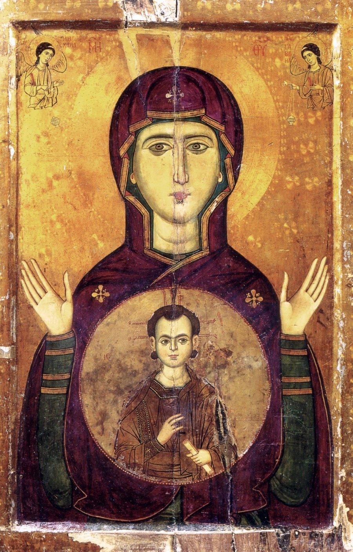 """Икона Божией Матери """"Влахернитисса"""". Византия, XIII век. Монастырь Святой Екатерины на Синае."""