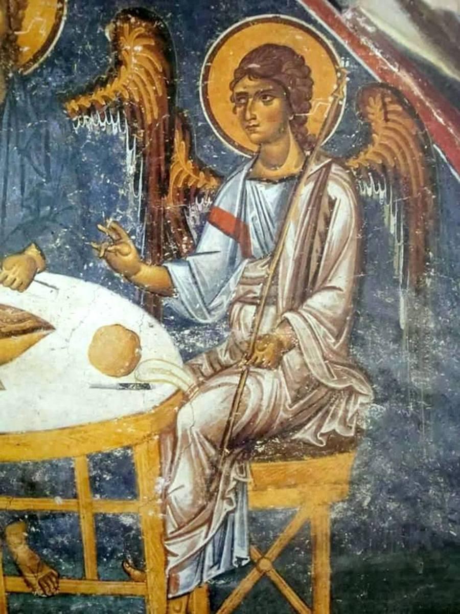 Пресвятая Троица. Фреска монастыря Святого Иоанна Богослова на острове Патмос, Греция. Конец XII века. Фрагмент.