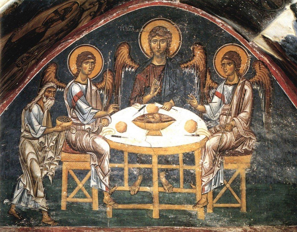 Пресвятая Троица. Фреска монастыря Святого Иоанна Богослова на острове Патмос, Греция. Конец XII века.