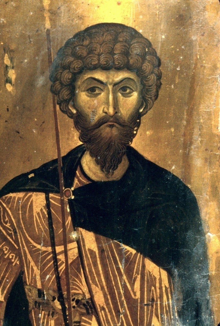 Святой Великомученик Феодор Стратилат. Фрагмент византийской иконы начала XIII века. Монастырь Святой Екатерины на Синае.