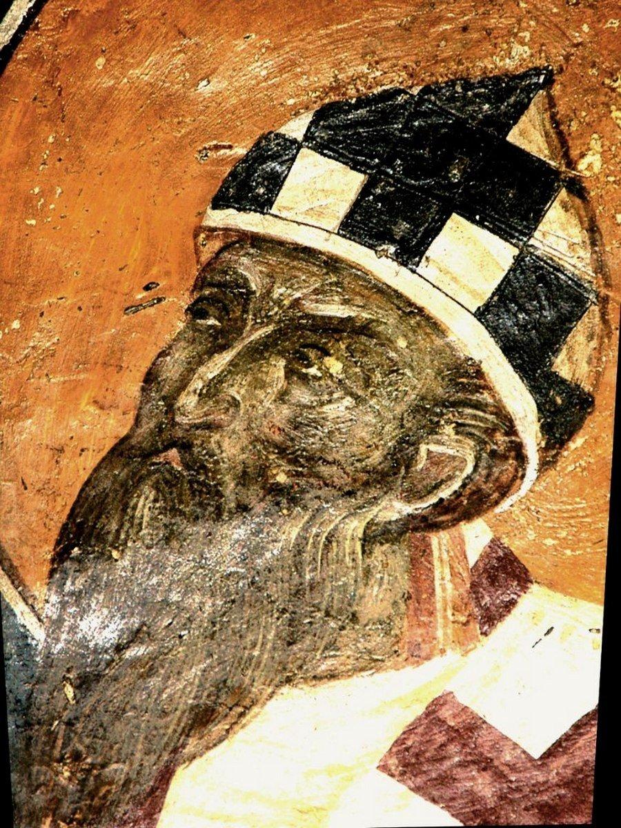 Святитель Кирилл, Архиепископ Александрийский. Фреска церкви Святого Николая Орфаноса в Салониках, Греция. 1310 - 1315 годы.