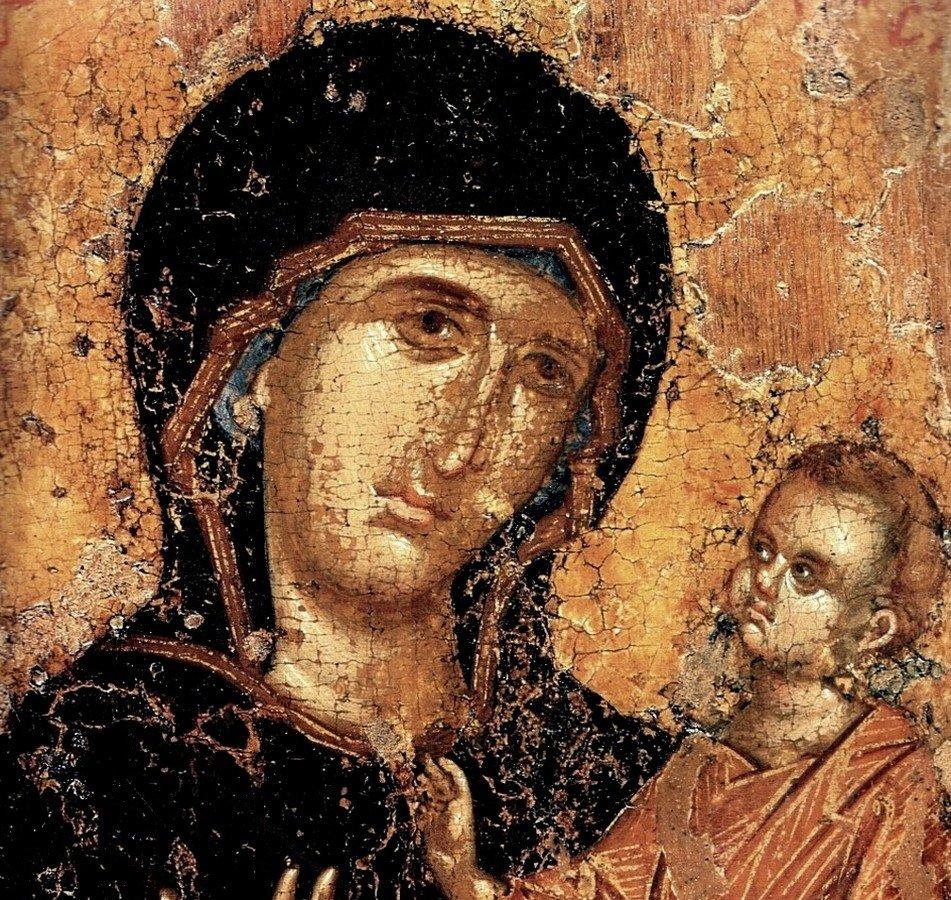 """Икона Божией Матери """"Перивлепта"""". Византия, XIV век. Музеи Московского Кремля. Фрагмент."""