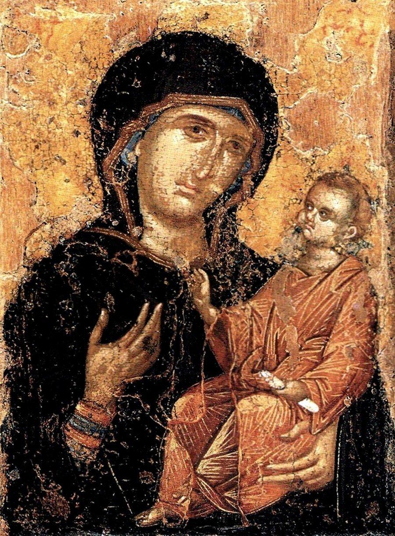"""Икона Божией Матери """"Перивлепта"""". Византия, XIV век. Музеи Московского Кремля."""