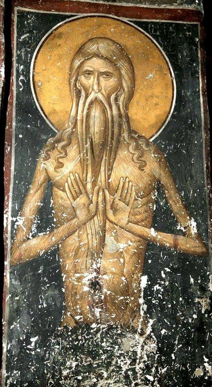 Святой Преподобный Онуфрий Великий. Фреска монастыря Панагии Олимпиотиссы в Элассоне, Греция. XIV век.