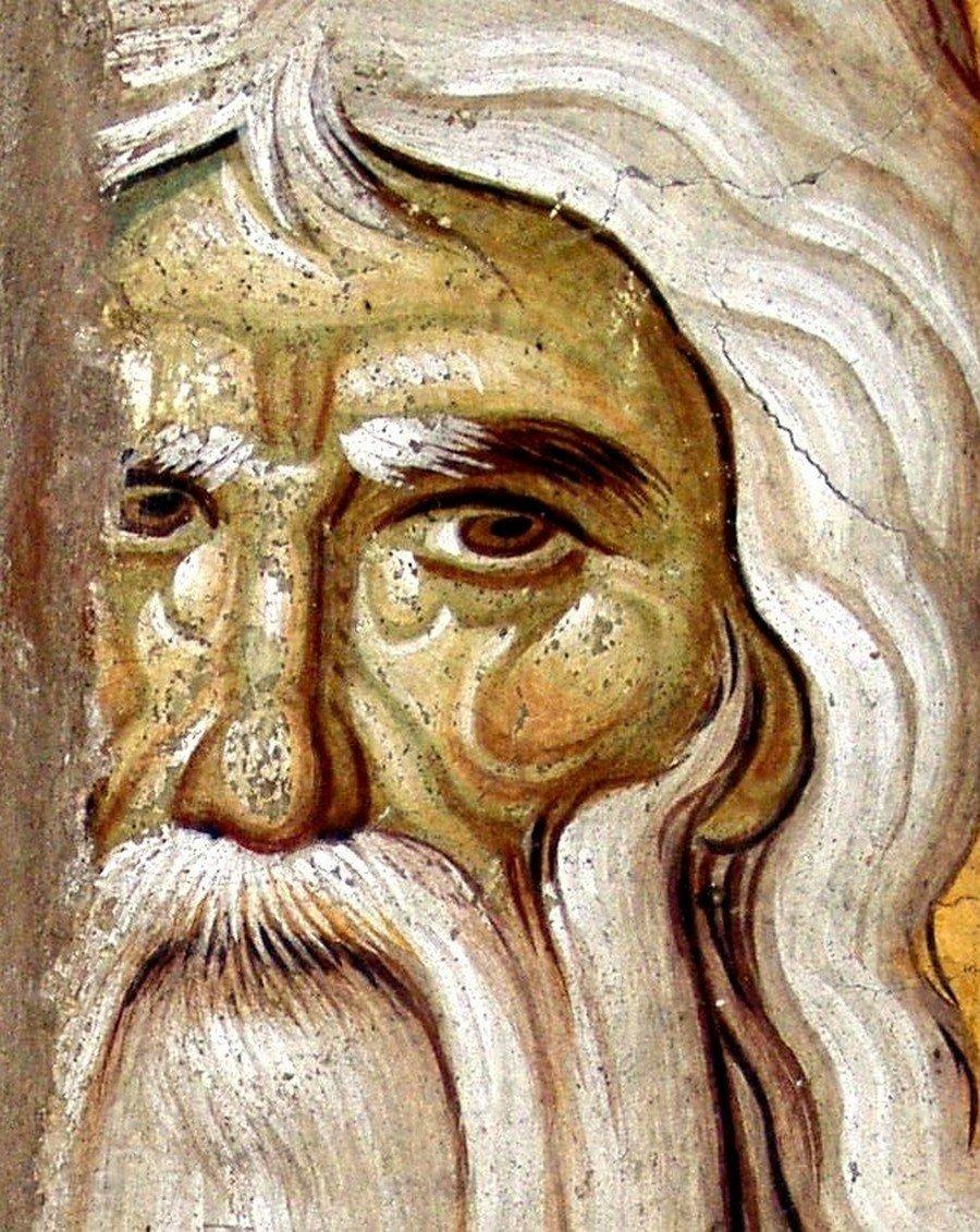 Святой Преподобный Онуфрий Великий. Фреска храма Протатон (Протат) в Карее на Афоне. Конец XIII века. Иконописец Мануил Панселин.