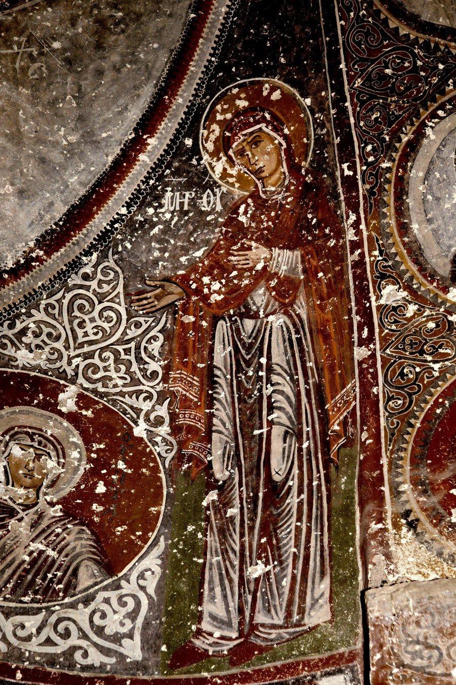 """Образ Божией Матери """"Агиосоритисса"""". Византийская фреска. Церковь Святого Феодора, Тагар, Каппадокия."""