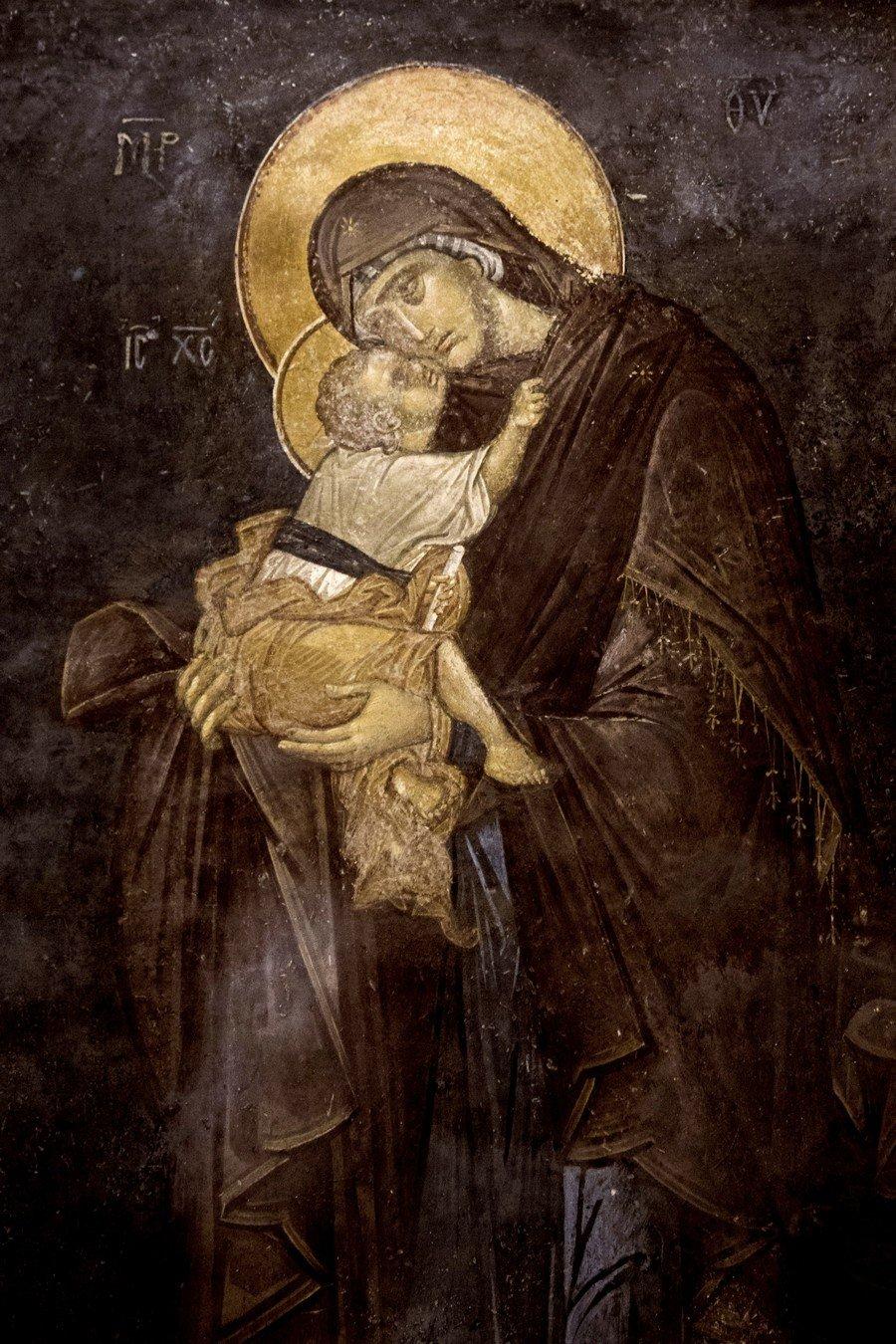 """Образ Божией Матери """"Гликофилуса"""". Фреска монастыря Хора в Константинополе. 1315 - 1321 годы."""