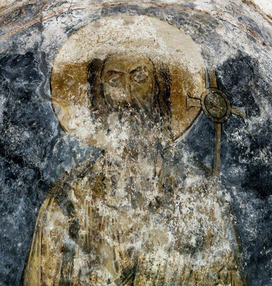 Святой Пророк, Предтеча и Креститель Господень Иоанн. Фреска собора Святой Софии в Охриде, Македония. XI век.