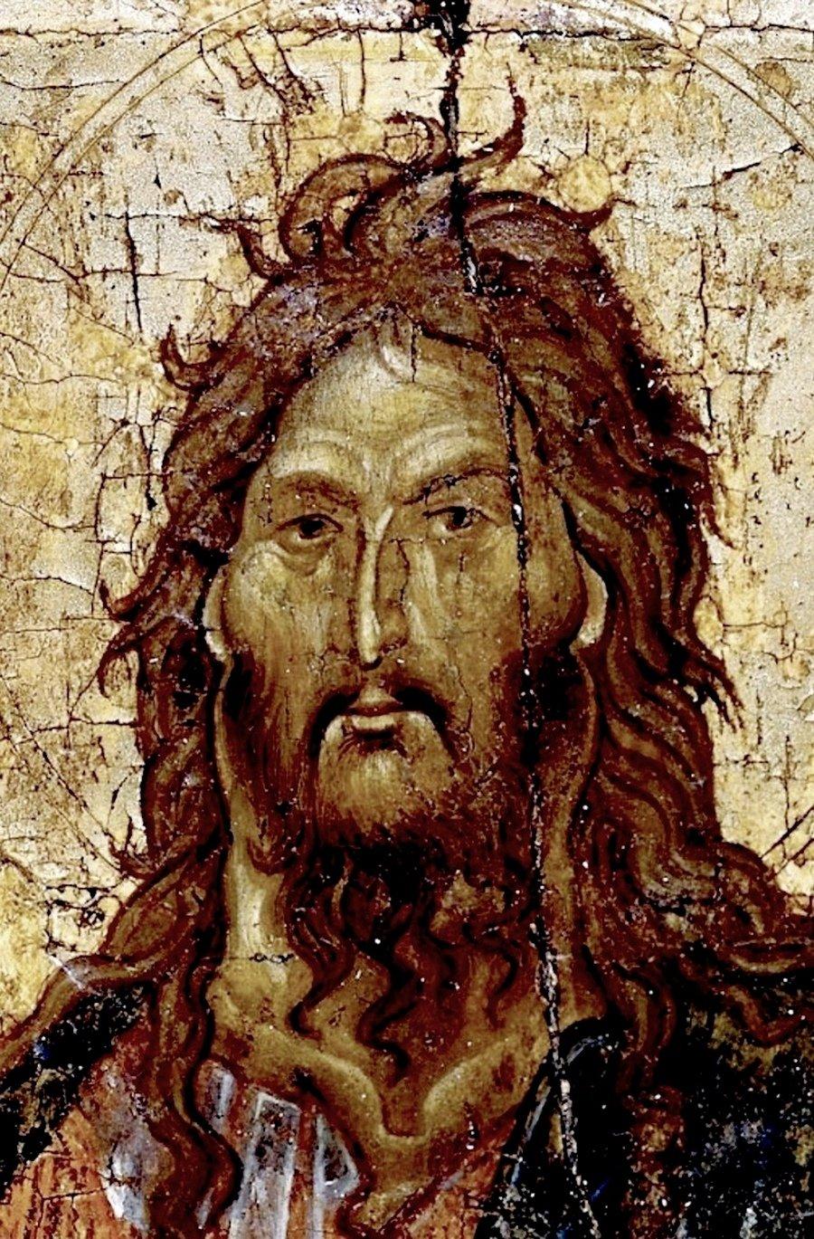Святой Пророк, Предтеча и Креститель Господень Иоанн. Византийская икона XIV века. Фрагмент.