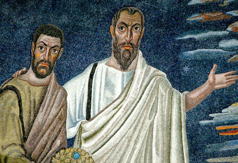 Святые Апостол Павел и Бессребреник Дамиан. Фрагмент мозаики апсиды церкви Святых Космы и Дамиана (Санти Косма э Дамиано) в Риме. 527 год.