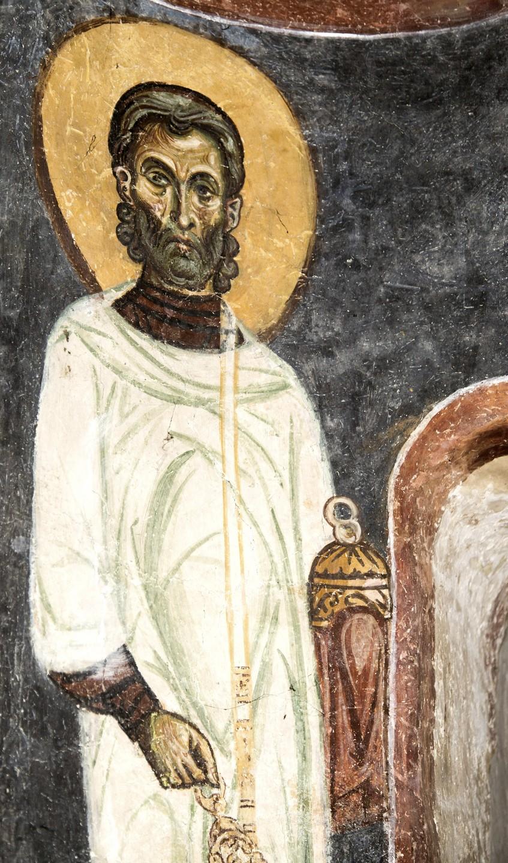 Святой диакон. Фреска монастыря Святого Пантелеимона в Нерези близ Скопье, Македония. 1164 год.