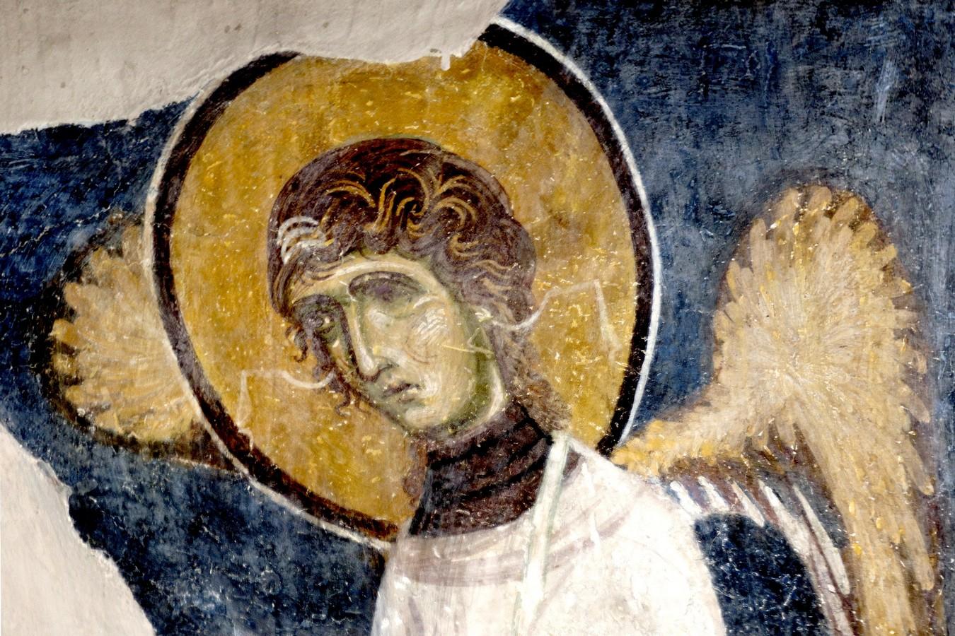 Ангел-диакон. Фреска монастыря Святого Пантелеимона в Нерези близ Скопье, Македония. 1164 год.